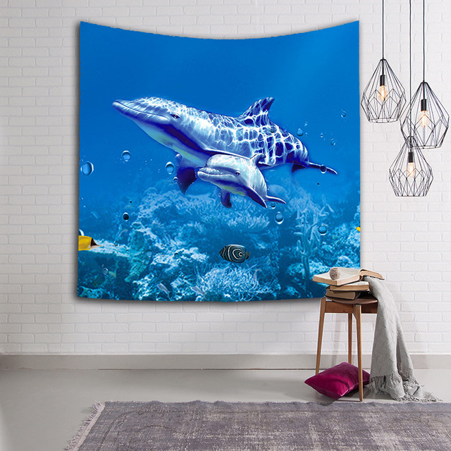 CAMMITEVER Turtles Dolphin Blue Sea Animals Fish Tapestry Wall Hanging Throw Home Decor for Living Room Bedroom Dorm Deccor