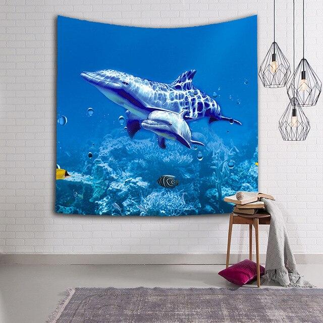 CAMMITEVER tortugas delfín animales de mar azul tapiz de peces colgar en la pared tirar la decoración del hogar para sala de estar dormitorio decoración del dormitorio