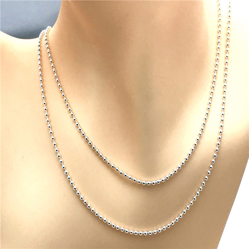 Beaded Essence Necklace 100% 925 Sterling Silver fit Essence charm beads DIY Fine Jewelry PFN009-8 цена