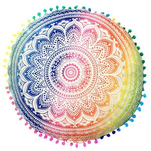 New Home Round Indian Mandala Floor Pillows Round Bohemian Cushions Pillows Cover Case color textile pillow Slip 43*43CM(China)