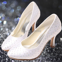 Wedopus Latest Model White Satin Rhinestones Party Covered Toe Woman Pumps