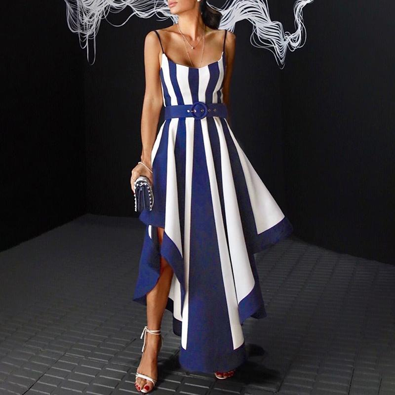 Été Boho robe 2019 mode élégant formel femme élégante asymétrique Maxi robe contraste rayé ceinturé longue robe de soirée