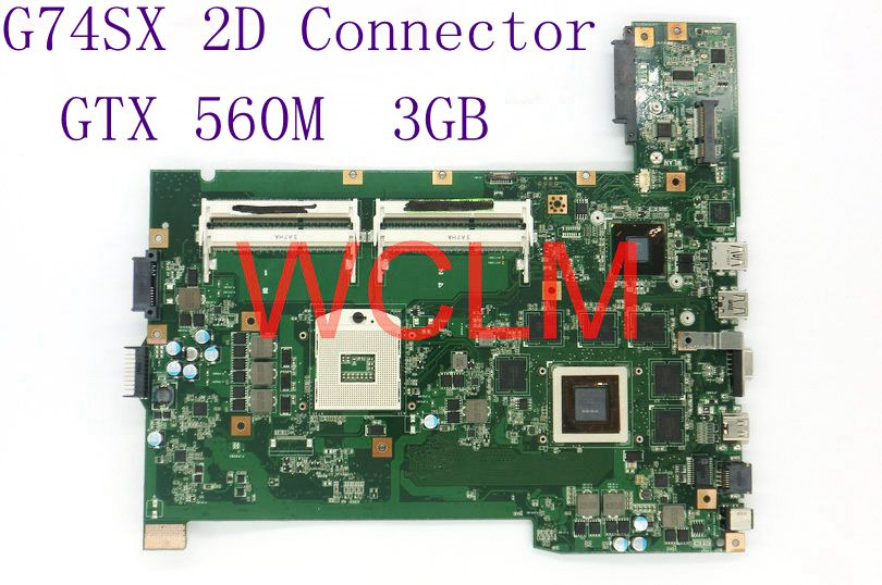 G74SX GTX560M 3GB 2D Connector N12E-GS-A1 mainboard For ASUS G74SX laptop motherboard HM65 100% Tested free shipping free shipping new brand original g74sx laptop motherboard g74sx main board gtx560m 2d lcd connector n12e gs a1 100