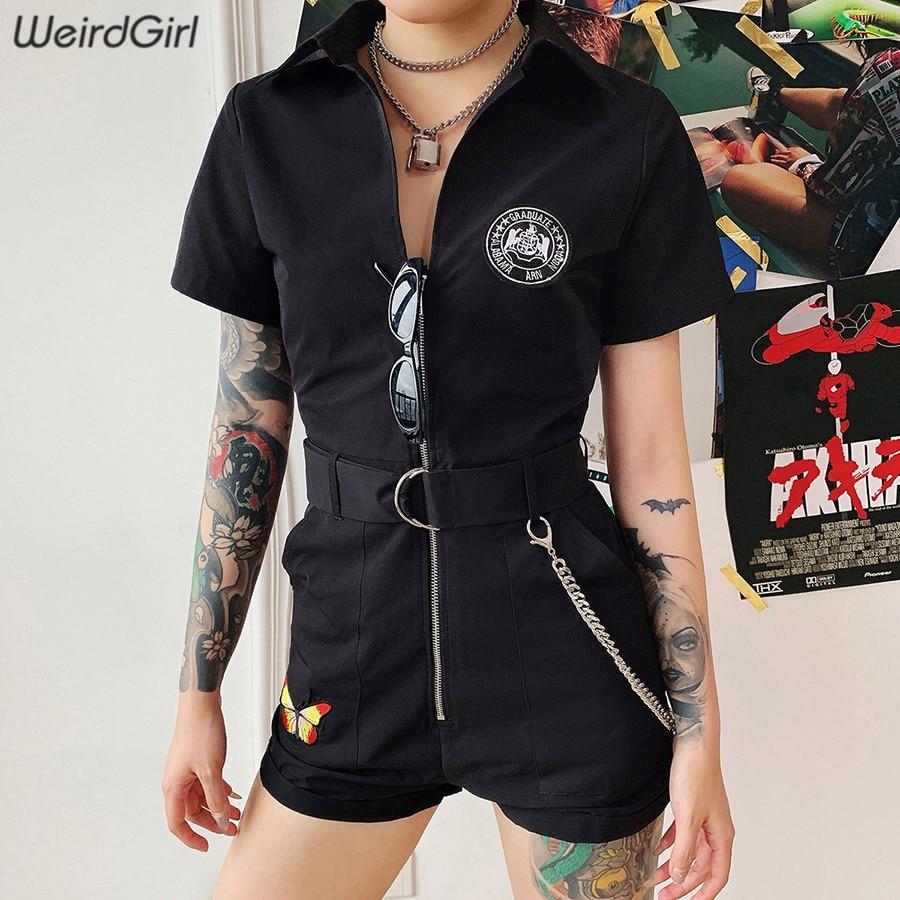 Weirdgirl Women Playsuits Butterfly Embroidery Zipper Metal Chain Pocket Romper Femme Pants Streetwear Fashion Casual New Summer