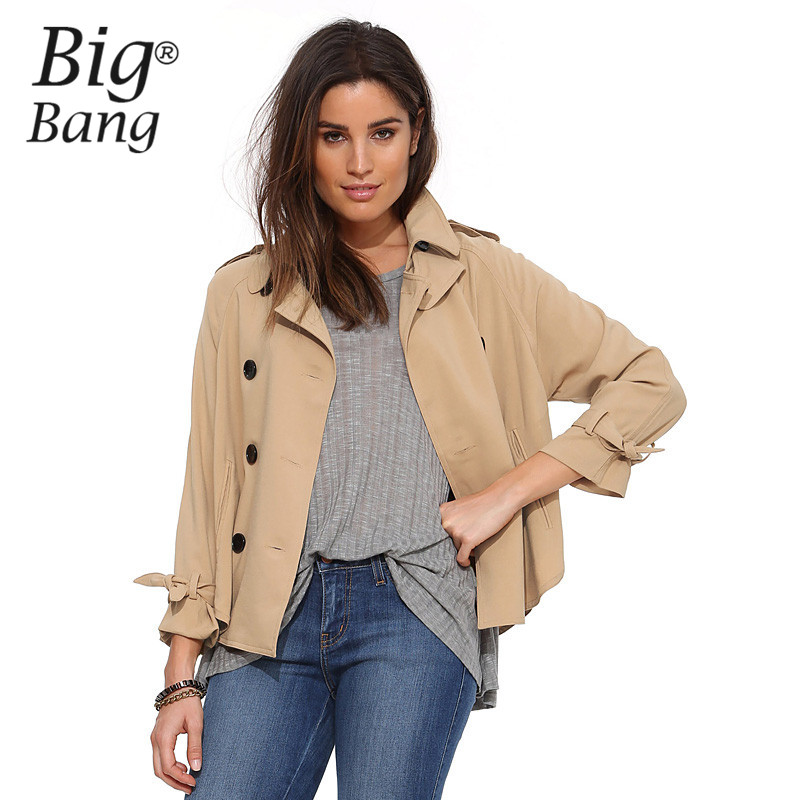 Popular Khaki Short Trench Coat Women-Buy Cheap Khaki Short Trench