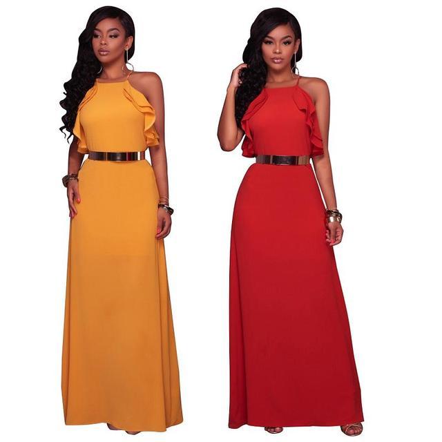 97739e09896994 Sexy Elegante backless satin lange Vrouwen jurk zomerjurk Party sexy geel  rood maxi jurken vestidos