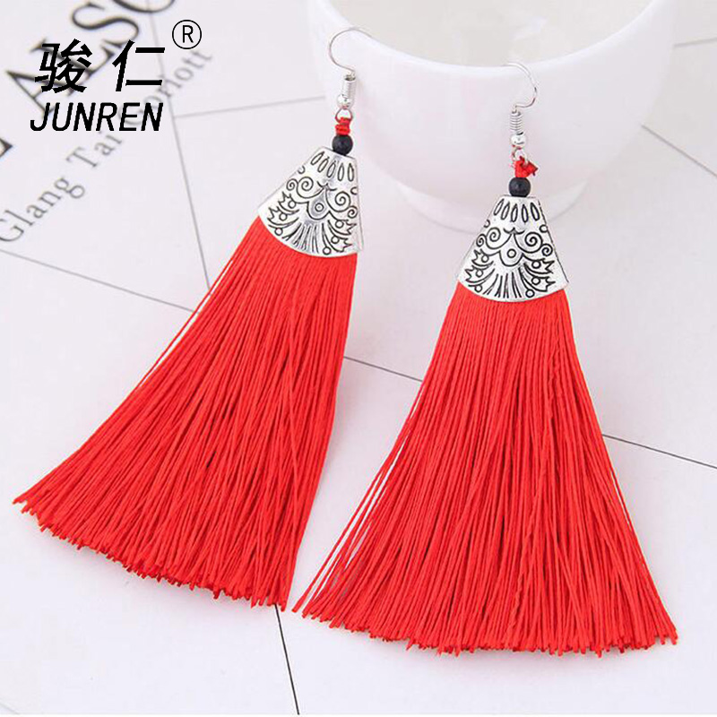 Bohemian Simple Tassel Earrings Ancient Silver Ethnic Drop Earrings for Women Wedding Long Fringed Earrings Jewelry Gift