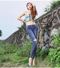 2016 летний новый топ мода корейский стиль карандаш оболочка тощий плед джинсовой женщина брюки царапины винтаж ripped джинсы женские D143