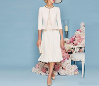 Chiffon 3/4 Sleeves Vintage Tea Length Mother Of The Bride Dress With Jacket Vestidos Madre Novia