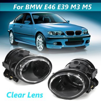 for BMW E46 E39 3 SERIES 5 SERIES 1998-2004 Pair 12V Front Left Right fog light fog light with Clear fog light cover 51112695256