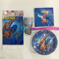 41pcs Kids Boys Baby Birthday Decoration Spiderman Theme Disposable Party Set Paper Plates Napkins Plastic Table