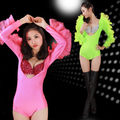 2015 Free shipping sexy dance costume V-neck backless low cut tight bikini bodysuit package nightclub pole dance costumes