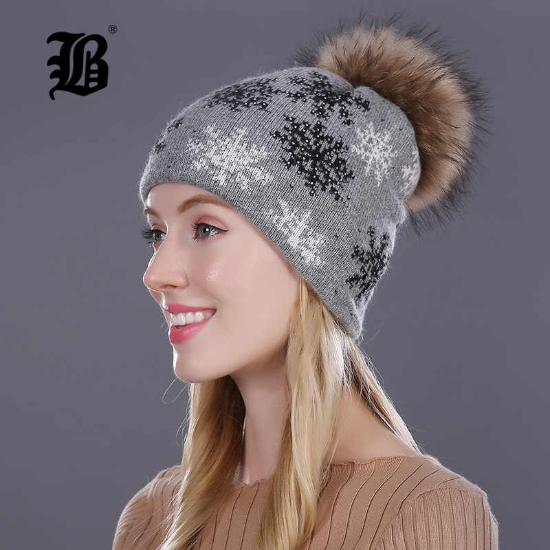 f8ccbb1547c Detail Feedback Questions about  FLB  Real Mink Pom Poms Winter Hats ...