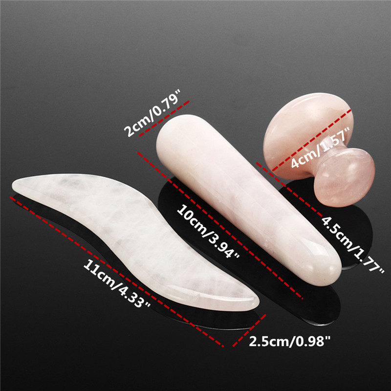3PCS Pink Quartz Crystal Massage Stone Magic Guasha Scrape Stick Wand Mushroom Roller Slim Facial Body Healing Reiki Health Care 3top smelt quartz crystal wand point healing