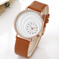 Hot selling ABBYGALE Watch Unique Moon Dial Design Fashion Ladies Quartz Wristwatch Leather Strap Analog Women's Watches Gift