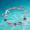Beautiful female charm wedding banquet shiny stone silver bracelet new and high quality fashion jewelry gifts of amethyst