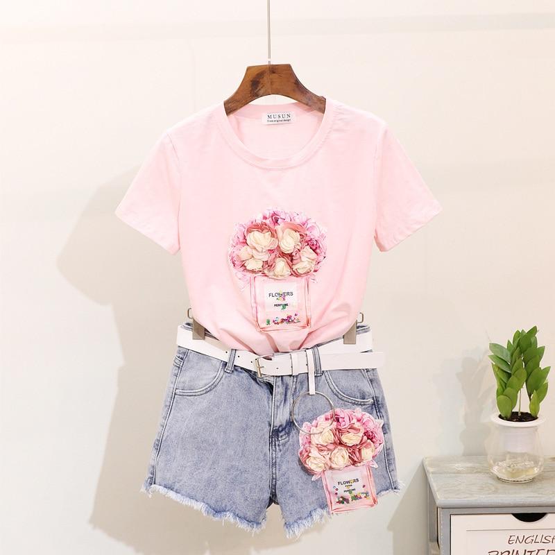 7f3f5bb37a2f1 Blanc Femmes T Bouteilles Définit À Pièces Motif shirts rose 3d Floral  Coton D'été Jean ...