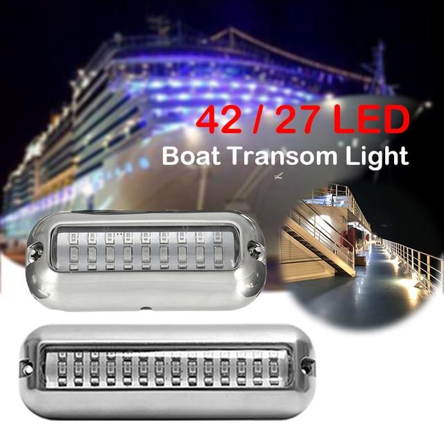 Universal New Marine Stainless Steel Under Water Pontoon Waterproof Boat Transom Light 12V led 27/42 LED optional
