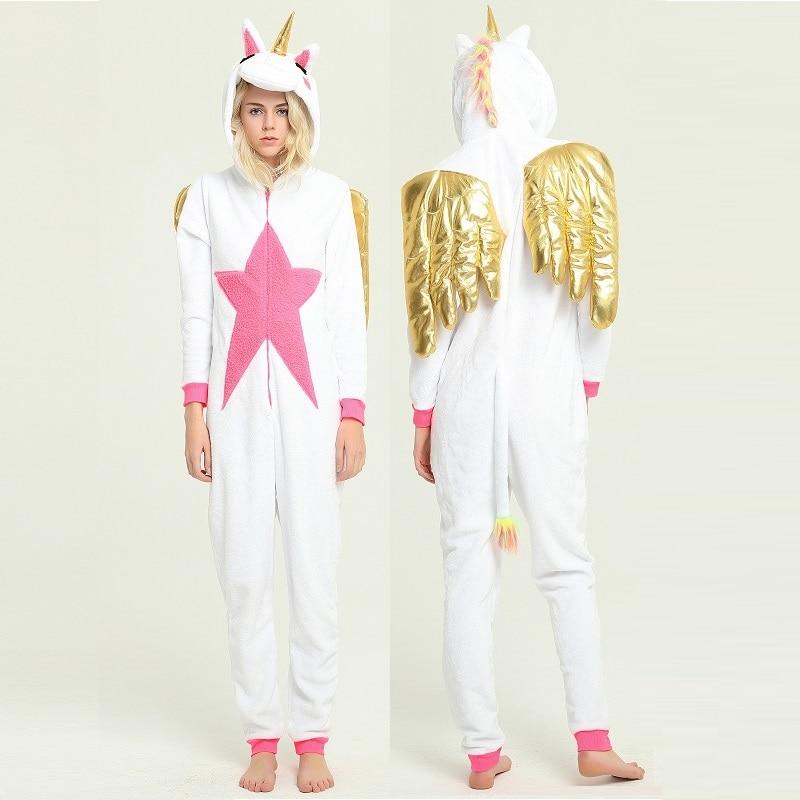 kigurumi gold wings unicorn onesie pyjama licorne Animal unicornio long sleeve hooded Onesies For Adults Flannel warm overalls