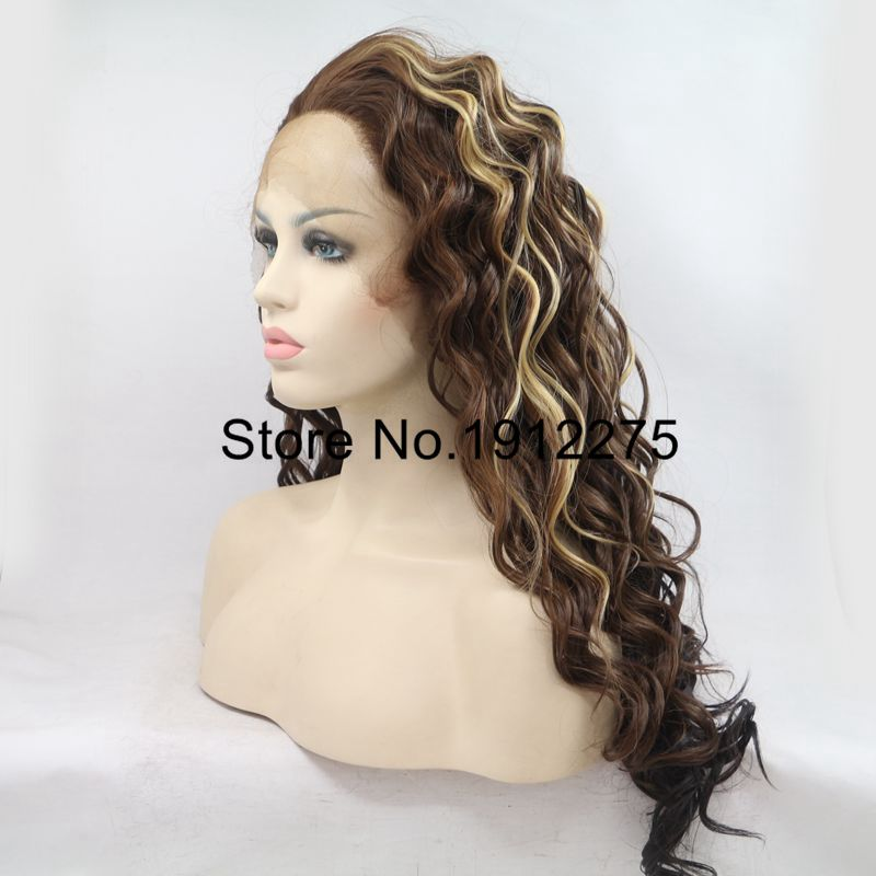 Sylvia Heat Resistant Women Hair Mixed Brown Natural Long Curly Synthetic Lace Front Wig Free Part Glueless Hair Half Hand Tied
