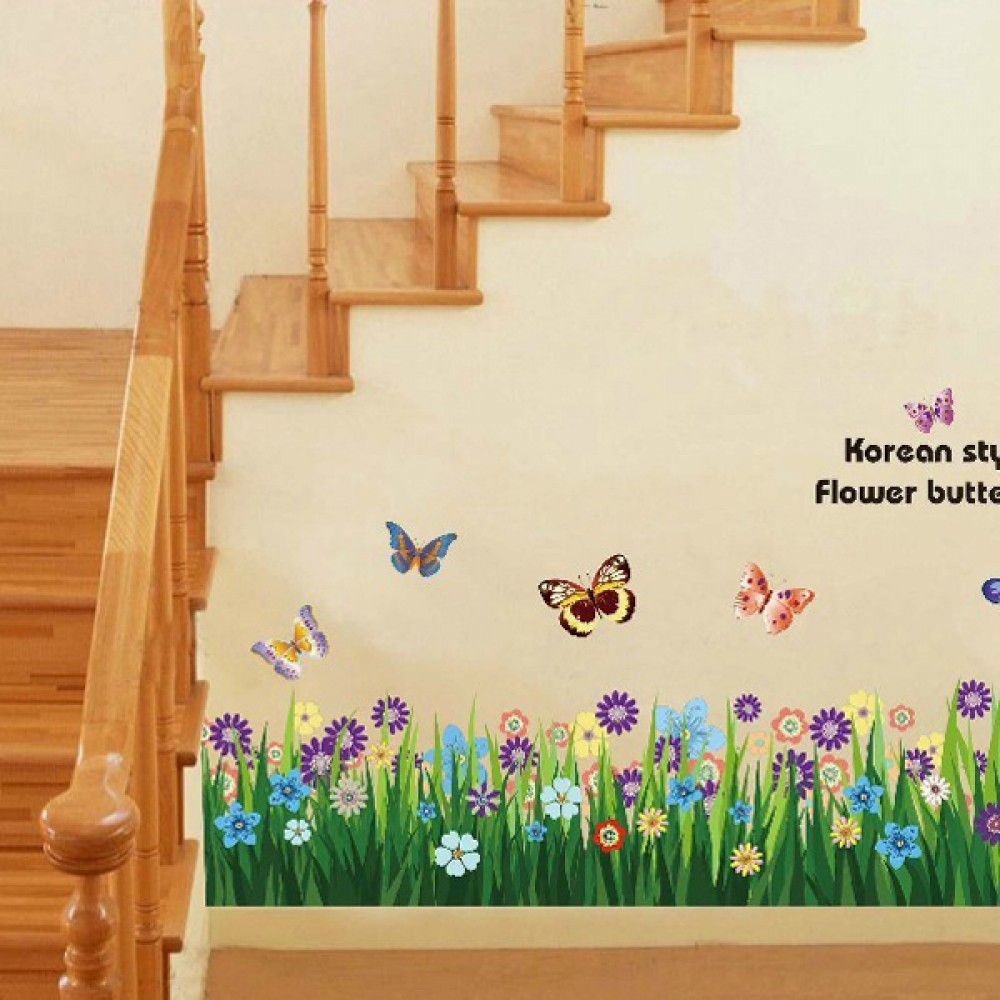 popular wall decals garden buy cheap wall decals garden lots from butterfly grass flowers wall stickers garden flower wall decals for baby girls bedroom playroom g0lm7003