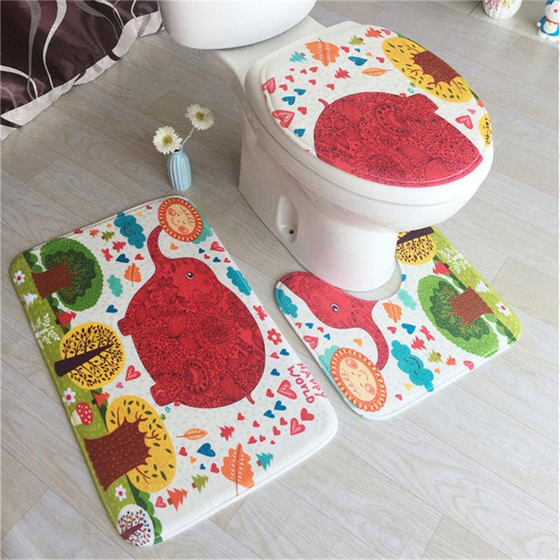 WC Carpet Shower Room Mat Anti Slip Bathroom Rugs Toilet Seat Cushion Anti-slip Bathroom Three Pieces Of Bathroom Toilet Mat