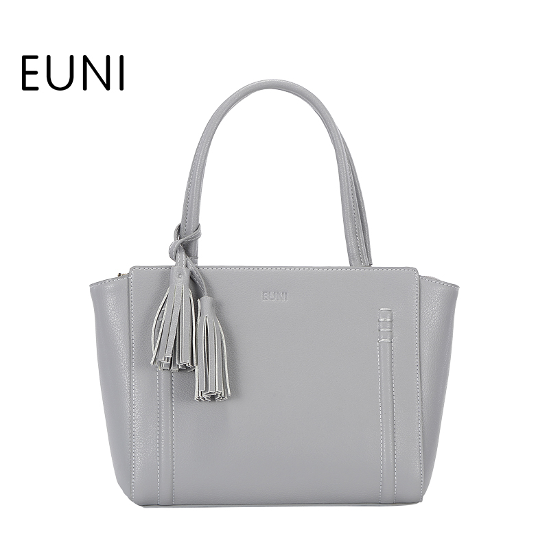 EUNI Cowhide Leather Women Bag Luxury Lady Shoulder&Crossbody Bag Fashion Trapeze Tassel Women Messenger Bag Bolsa Feminina fashion leather women messenger bag cowhide shoulder bag women satchels crossbody bag bolsa feminina