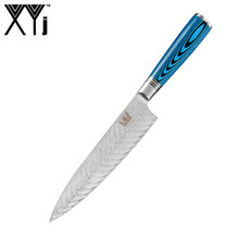 XYj 8 inch Chef Damascus Kitchen Knife Blue Handle Fish Pattern Blade Gift Box Japanese Germany Style Cooking Accessory Tools(China)