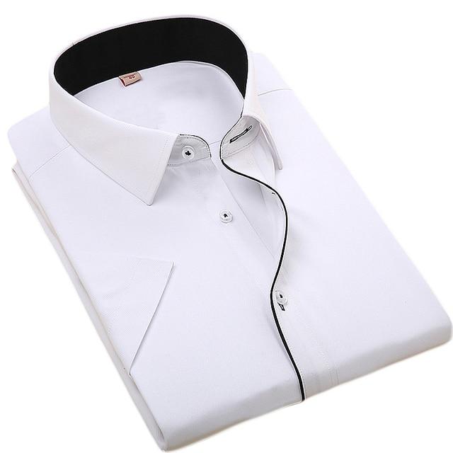 2017 Nova Marca Mens Camisas de Vestido Camisa de Manga Curta Casuais Design Da Marca Formal Camisa chemise Sociais dos homens Ajuste Regular homme
