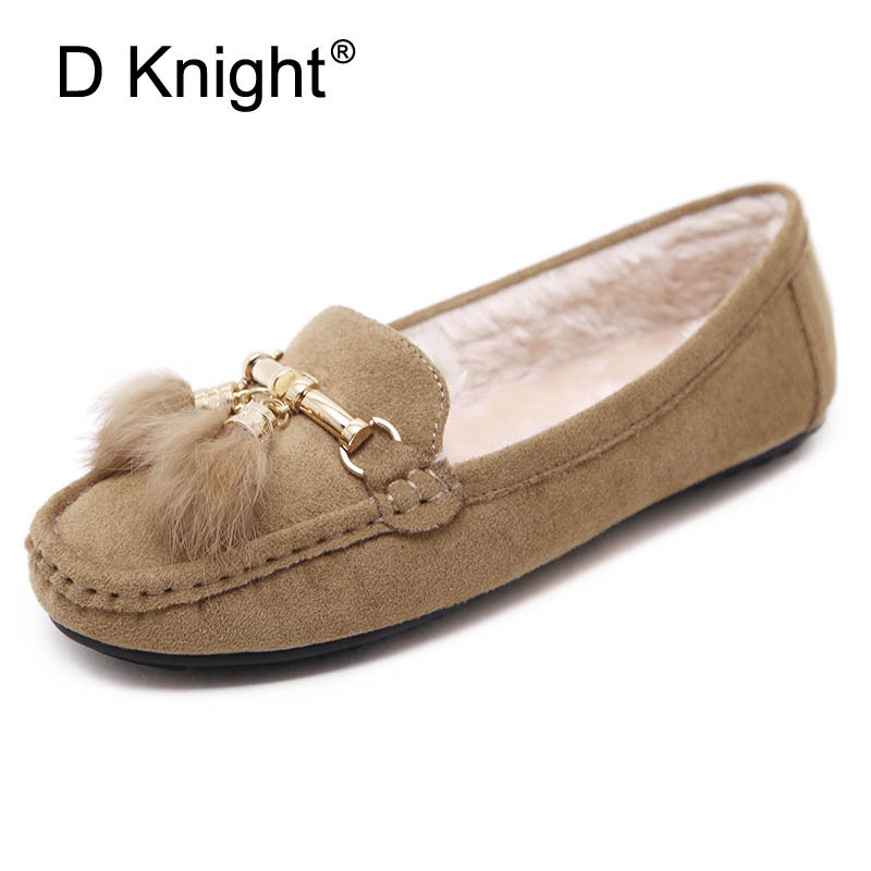 Faux Fur Bow/Metal Decoration Woman Loafers Round Toe Mother Winter Shoes Women Warm Flats Short Plush Women's Shoes US Size 10 vesonal brand faux fur women shoes flats 2017 winter warm velvet female fashion ladies woman sneakers casual footwear tsj 189