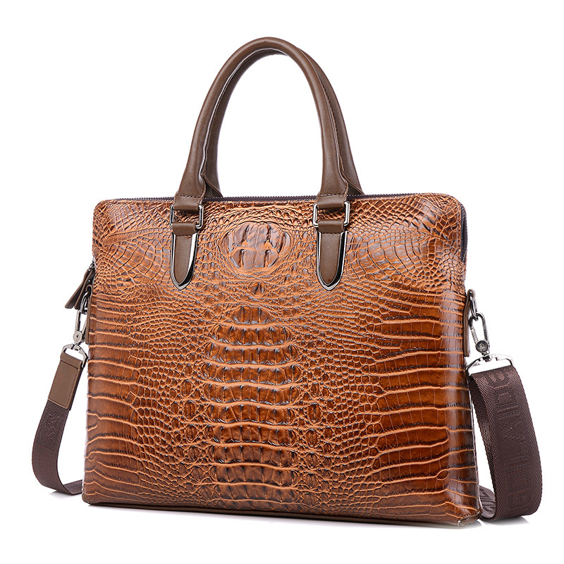 Luxury Crocodile pattern Genuine Leather Laptop bag men Fashion Casual Business Travel bag men font b