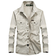Military Shirt Male Plus Size 6XL 5XL Casual Long Sleeve Men's Shirt Cotton Solid Men Shirts Army Khaki  Social Chemise Male