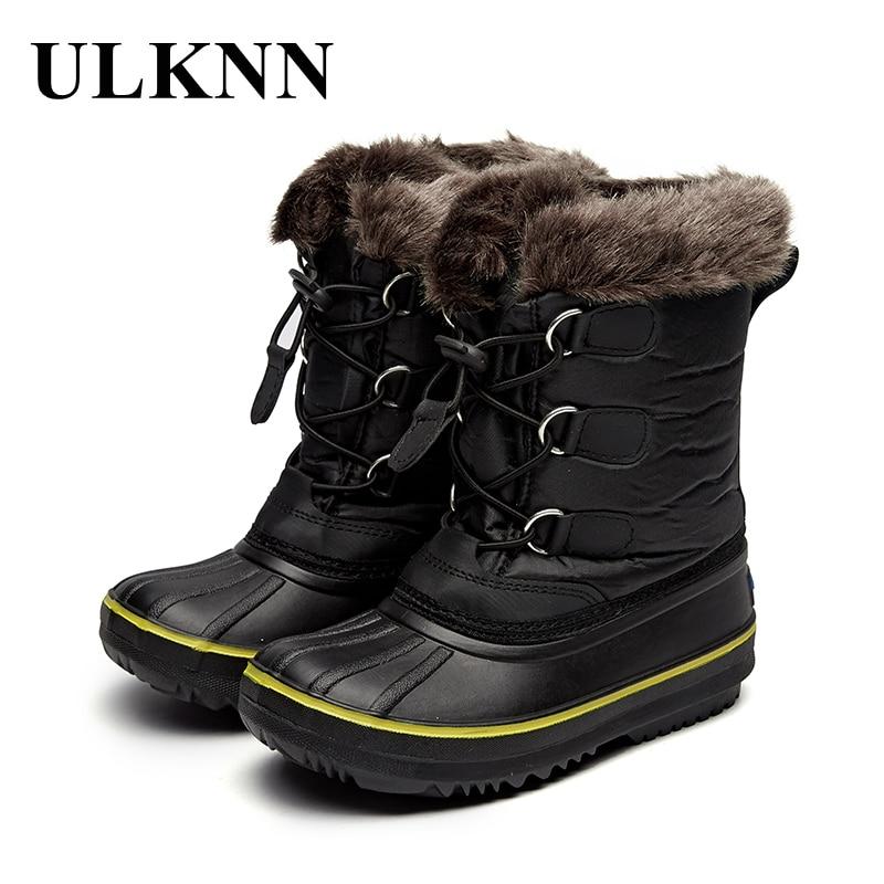 ULKNN Snow Boots For Girls Kids Baby Warm Winter Shoes Children Warm Mid Calf Rubber Elastic band Waterproof Black Felt boots