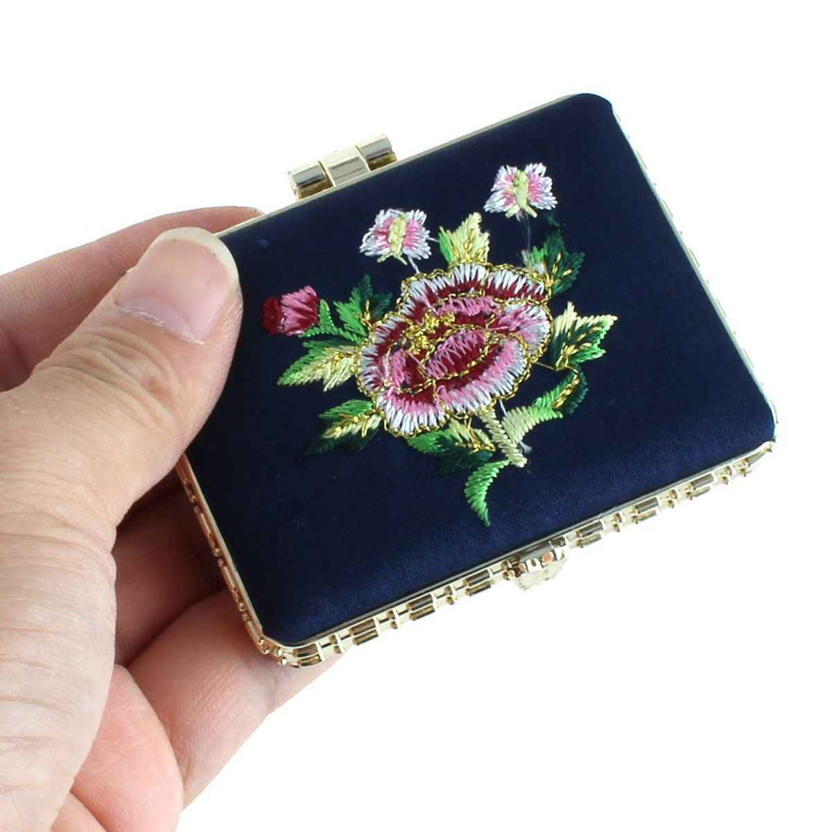 Miroirs de maquillage de miroir de poche de style chinois de broderie de fleur de Rectangle portatif (couleur aléatoire)