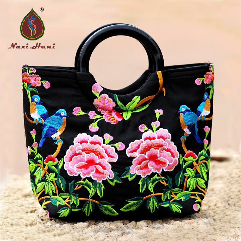Ethnic embroidered women totes vintage canvas pattern bags Chinese wind embroidery shell bag ethnic embroidered black cami dress for women