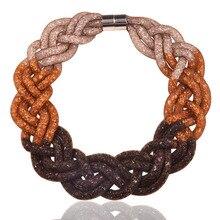 Envío rápido mujeres accesorios collar 2016 gran gradiente de color hecho a mano 5 strands collar de cadena del acoplamiento