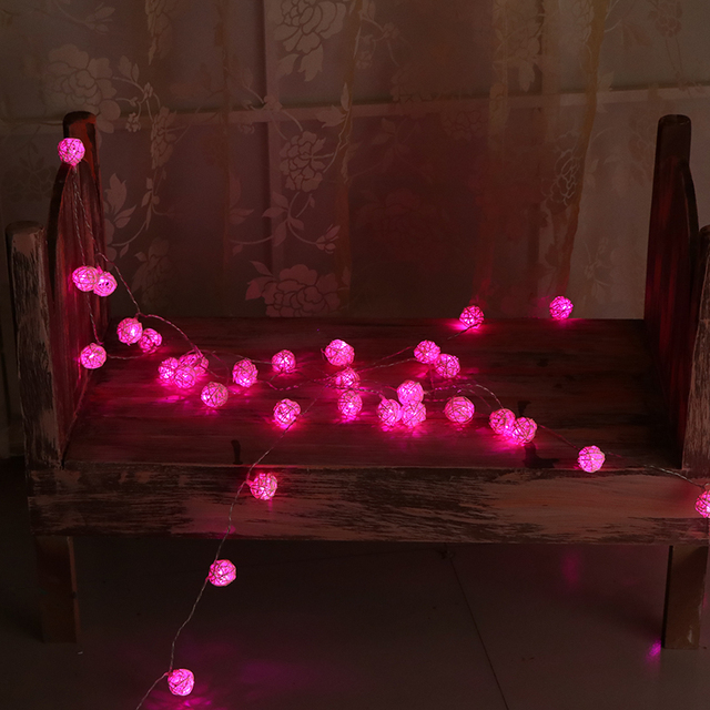 10m Rattan Ball Led String Lights Decoration Pink Christmas Lights