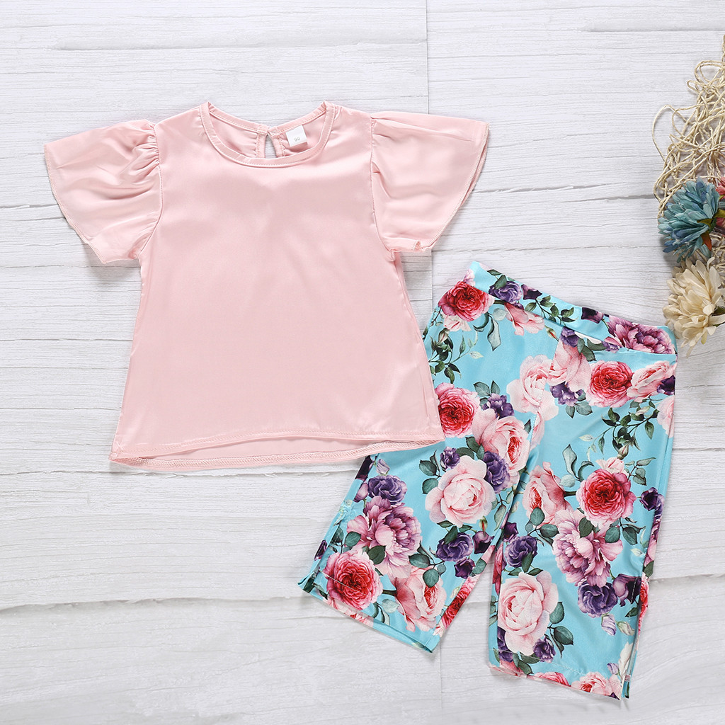 MUQGEW Baby Girl Clothes Summer Kids Baby Girls Solid Print T Shirt Tops Floral Print Pants Outfits Dropshipping Roupa Infantil