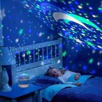 2018 Nowe Gwiazdy Księżyc Starry Sky LED, Noc, Lekki Projektor Nowość Tabeli Baterii USB Lampka nocna Lampka nocna Dla Dzieci