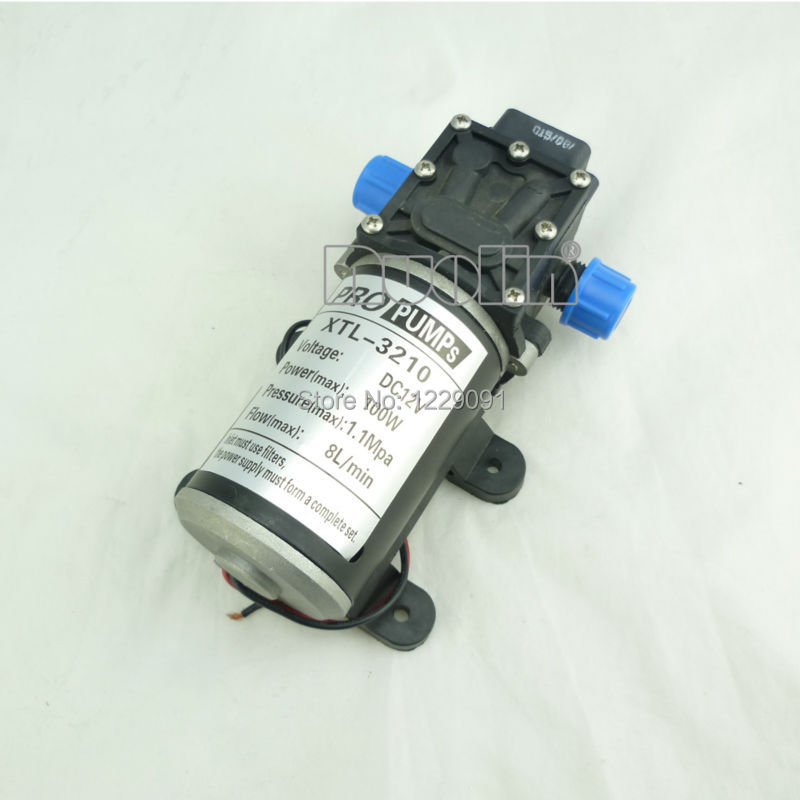 100W return valve type Diaphragm high pressure small 12v dc Water Pump 8L min self priming