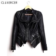 цены на Rivet Leather Jacket Women Punk Moto Coat Black Faux Jacket Spring Autumn Plus Size S-6XL Pu Leather Coat  в интернет-магазинах
