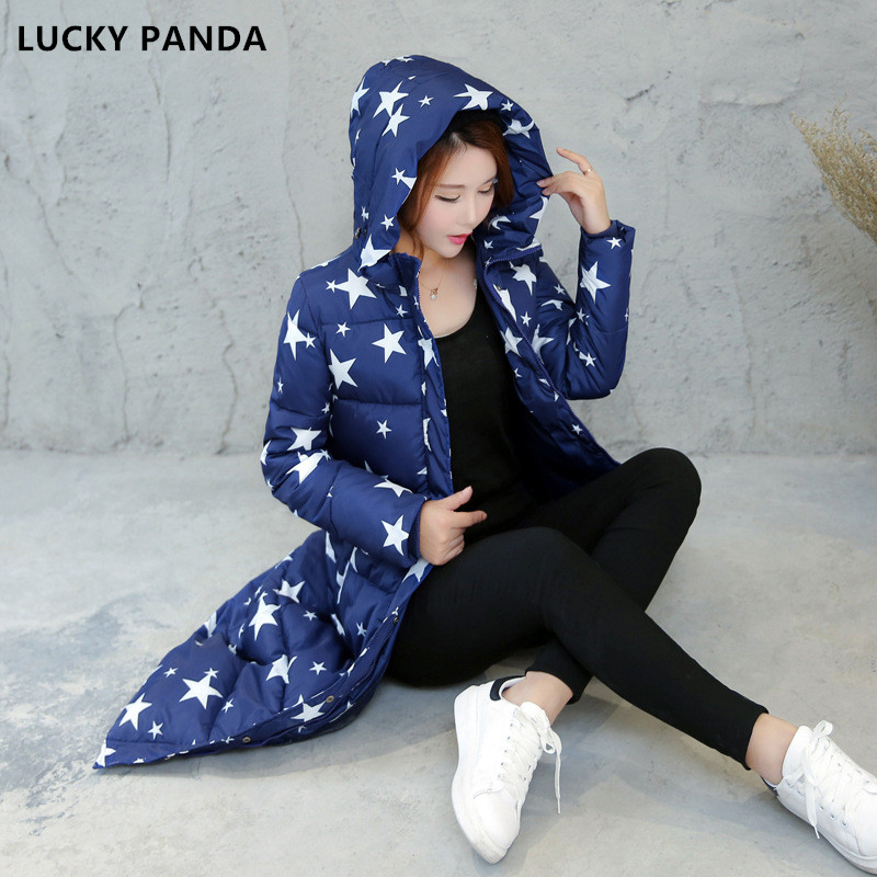 Lucky Panda 2016 Winter coat jacket thick female long padded coat for women top quality printing warm down cotton coat LKP296 lucky panda 2016 the new winter coat and female slim in the long and small lattice fragrant cotton lkp243