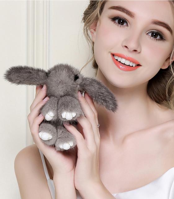 2017 pokemon llaveros chica 10 cm conejos conejito llavero animal de piel de visón real fur llaveros bolsas conejitos Baratija pompón de piel de liebre