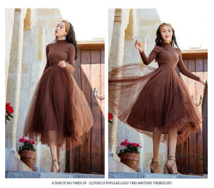 aac742496f06 Vestito Di Donne Elegante Maglia Qualità Alta Delle Del Abiti Rappezzatura  Lunghe Maniche Brown Sfera Midi ...