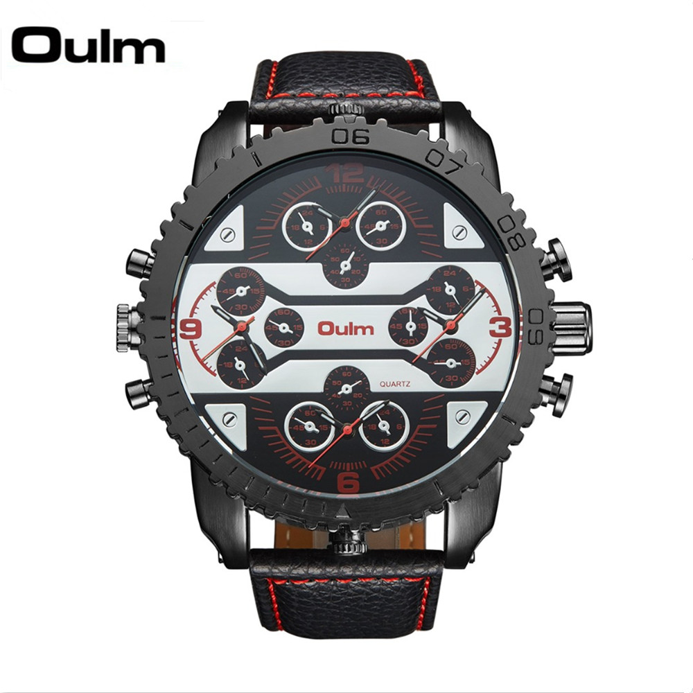 Oulm Watches Big-Face Movement Leather-Band Quartz Japan Casual Mens Luxury 4-Time-Zone