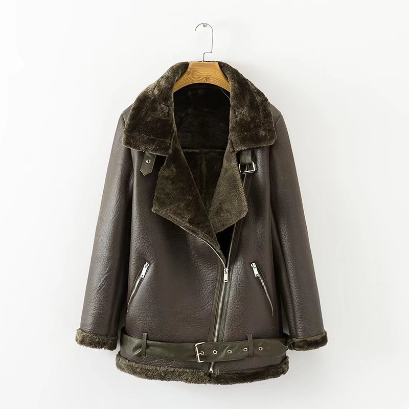 Winter Faux Lamb   Leather   Jacket Women Faux   Leather   Lambs Wool Fur Collar   Suede   Jacket Coats Female Warm Thick Outerwear