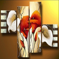Wholesale Lowest Price Best Quality Hand Painted Petunia Canvas Oil Painting Handmade Artwork Lily Flowers for Hotel Room Decor