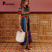 CUERLY 2019 Harajuku Casual Dress Women Clothes Fashion Rainbow Stripe Long Female Summer Beach Maxi Dresses