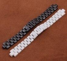 Estilo de la marca de 16mm 19mm Correa de Reloj Negro Blanco De Cerámica Convexa reloj para los hombres relojes de diamantes de la moda nunca se desvanecen