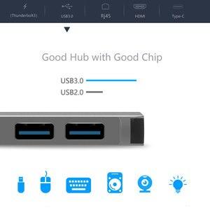 Image 4 - EASYA adaptador Thunderbolt 3 tipo C con USB a HDMI, puerto de USB C Rj45 de 1000M con datos PD, puerto USB 3,0 para MacBook Pro/Air 2018